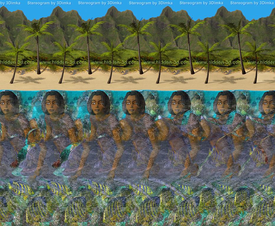 Stereogram by 3Dimka: Aloha. Tags: hawaii,sea,dolphin,girl,palm,beach,ocean,fish, hidden 3D picture (SIRDS)