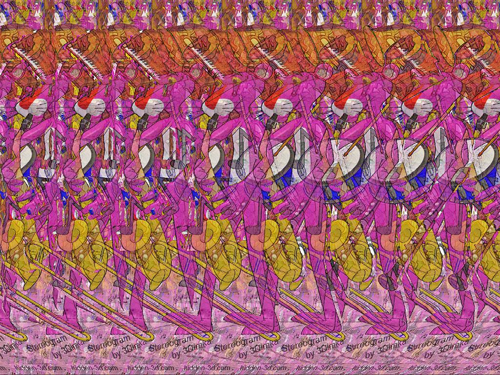 Stereogram by 3Dimka: Pink Music. Tags: pink panther, music, musical instruments, trumpet, clarinet, drums, 3Dimka portfolio, hidden 3D picture (SIRDS)