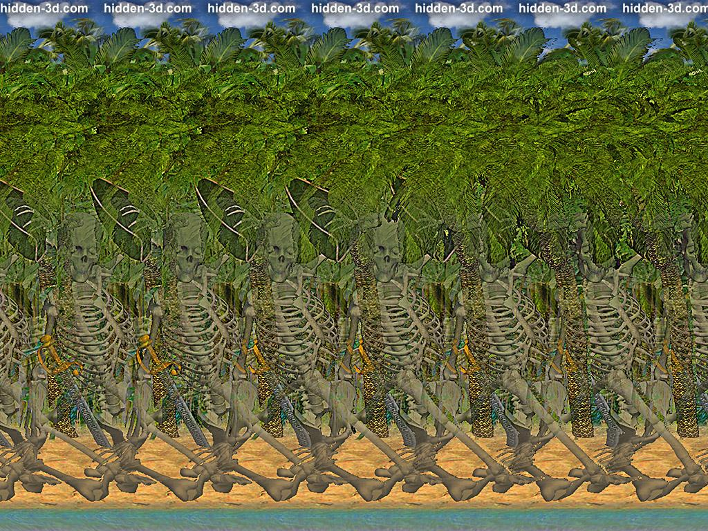Stereogram by 3Dimka: Pirate Island. Tags: pirate, skeleton, island, palm, beach, sea, ocean, tropics, sword, hidden 3D picture (SIRDS)