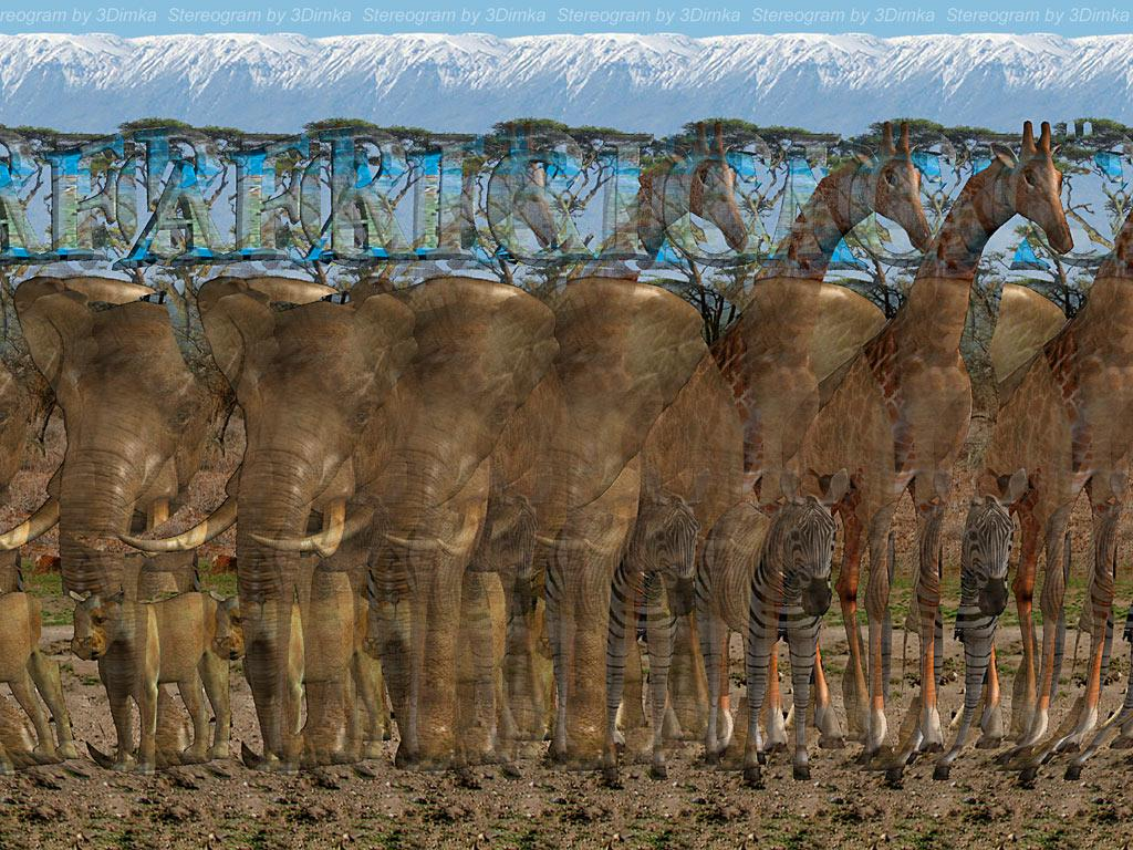 Stereogram by 3Dimka: Africa. Tags: africa, lioness,elephant,zebra,kilimanjaro, hidden 3D picture (SIRDS)