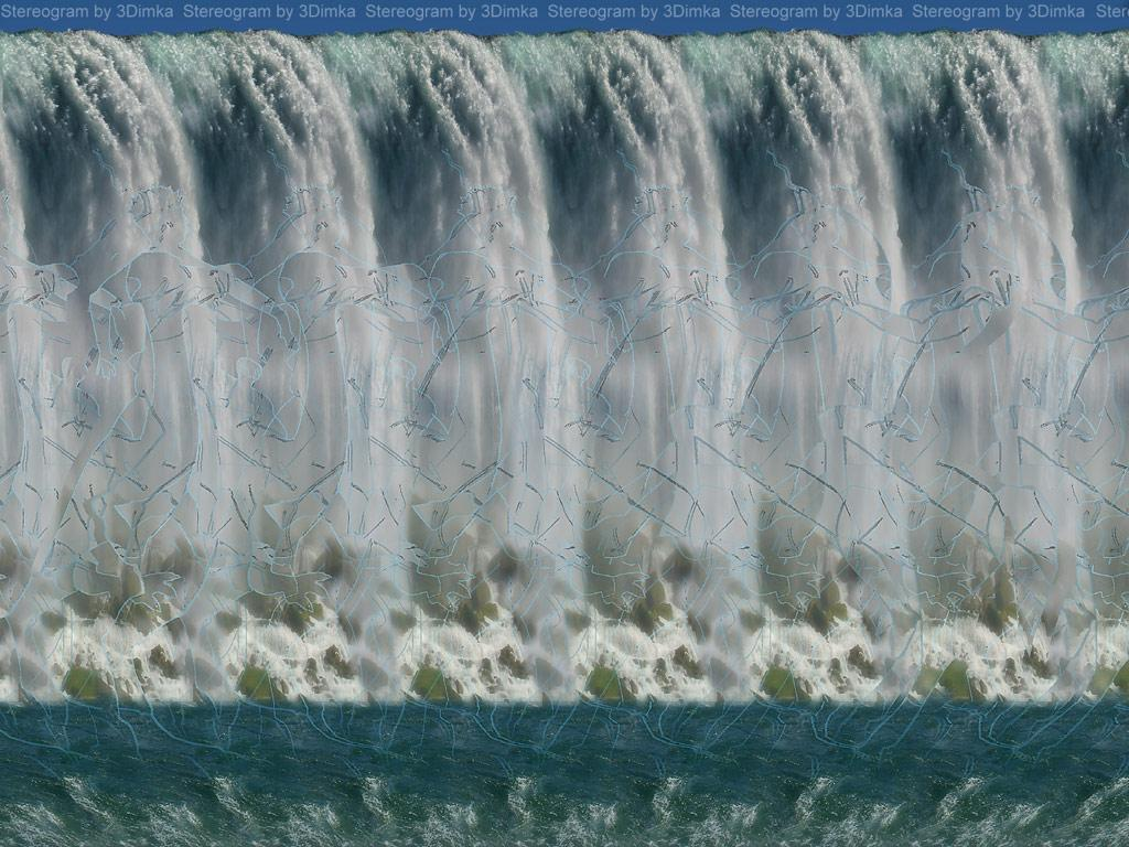 Stereogram by 3Dimka: Waterfall. Tags: waterfall, horse, dinopet, hidden 3D picture (SIRDS)