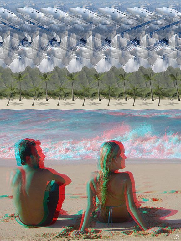 Stereogram by 3Dimka: Anaglyphogram. Tags: hawaii,plain,aircraft,anaglyph,palms,beach,sea,ocean,sand, hidden 3D picture (SIRDS)
