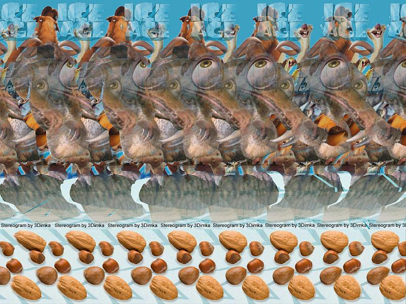 Stereogram by 3Dimka: Ice Age. Tags: Ice Age,scrat,ice,nuts,anut, glasures,squirrel, hidden 3D picture (SIRDS)