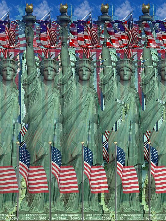 Stereogram by 3Dimka: Lady Liberty. Tags: statue of liberty,usa, NYC, new york, sculpture, monument, hidden 3D picture (SIRDS)