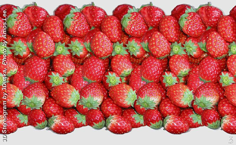 Stereogram by 3Dimka: Strawberry. Tags: straberry, array,OAS, fruits, hidden 3D picture (SIRDS)