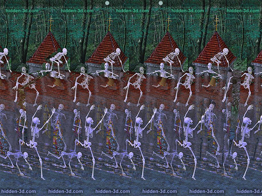 Stereogram by 3Dimka: Crazy night. Tags: skeletons,church,night, hidden 3D picture (SIRDS)