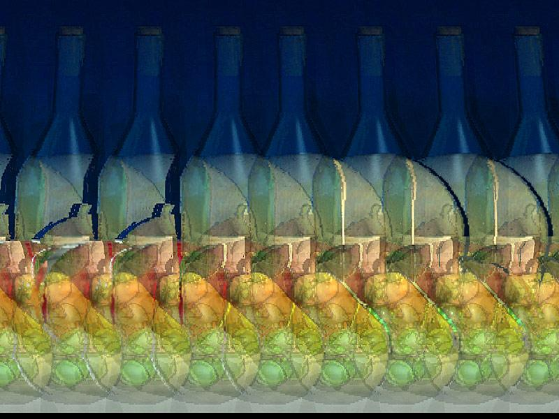 Stereogram by 3Dimka: Naturmort. Tags: bottle, fruits, skull, table, hidden 3D picture (SIRDS)