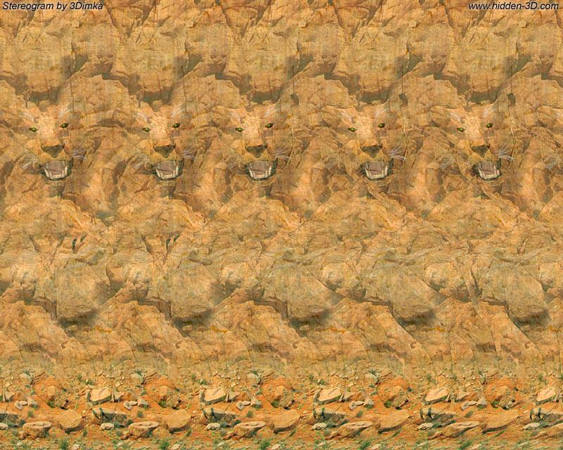 Stereogram by 3Dimka: Strike. Tags: tiger,animals,rock,lion,paws,jump, 3Dimka portfolio, hidden 3D picture (SIRDS)