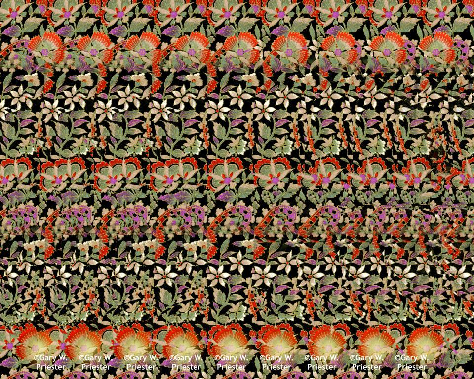 Stereogram by Gary W. Priester: Paisley Flowers. Tags: plant, hidden 3D picture (SIRDS)