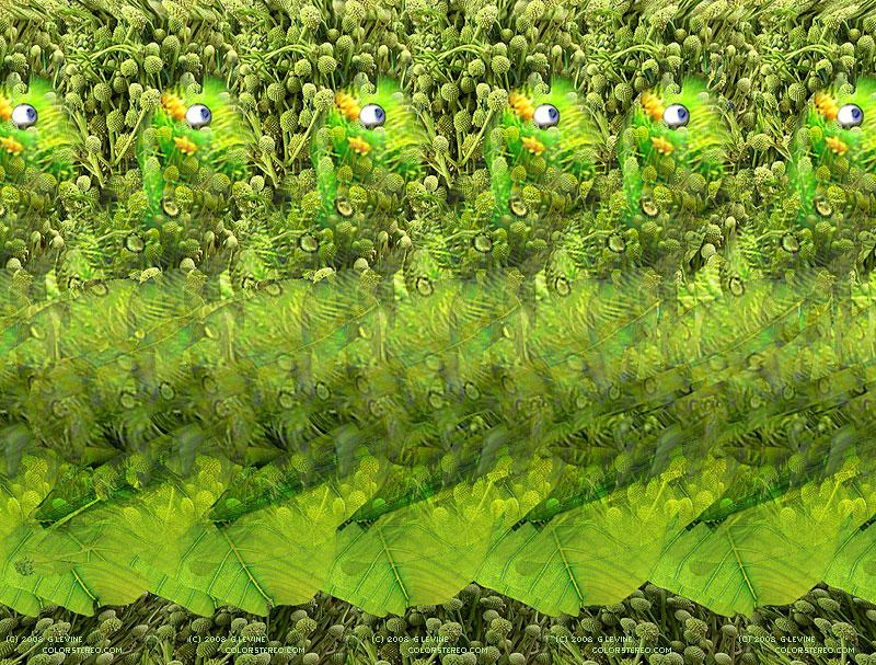 Stereogram by Gene Levine: Caterpillar. Tags: , hidden 3D picture (SIRDS)