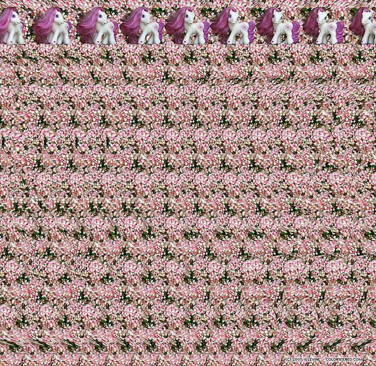 Stereogram by Gene Levine: Ponytail. Tags: , hidden 3D picture (SIRDS)