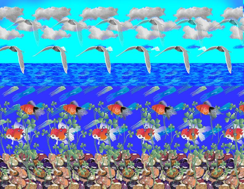 Stereogram by Carlos Contreras: Ocean. Tags: , hidden 3D picture (SIRDS)