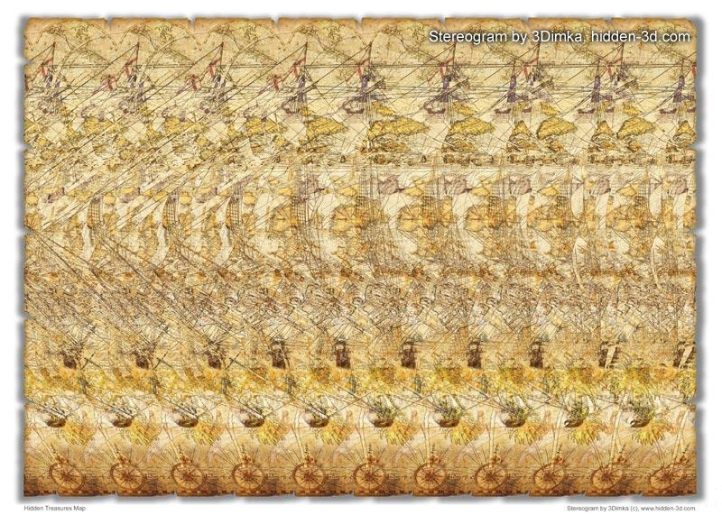 Stereogram by 3Dimka: Hidden Treasures Map. Tags: ship, sailboat, dolphin, sea, palms, hidden 3D picture (SIRDS)