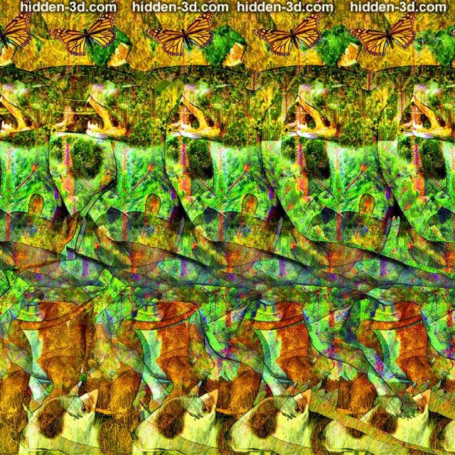 Stereogram by 3Dimka: Catch it!. Tags: dogs freezebee disk, hidden 3D picture (SIRDS)