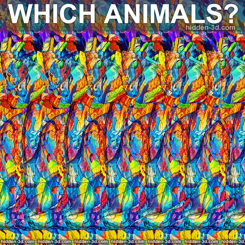 Stereogram by 3Dimka: How many and which animals?. Tags: cat alligator giraffe elephant catogatogiraffelephant, hidden 3D picture (SIRDS)